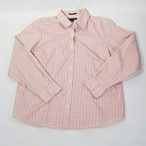 Lands' End Pink and Green Button Down Shirt - 18W